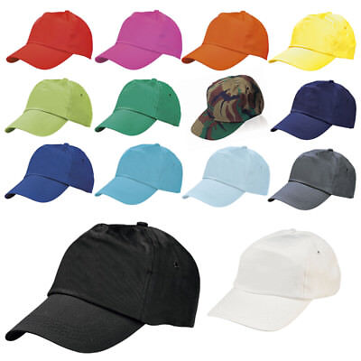 BASEBALL CAP 100% COTTON ADULT SIZE Sports Hat - Adjustable 14 Colours BRAND NEW