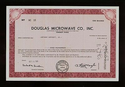 DOUGLAS MICROWAVES CO INC NY old stock certificate iss to Anthony Hopcroft