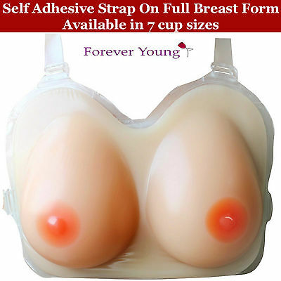 """Silicone Breast Form Boobs Self Adhesive Strap On """"Vanishing Edge"""" Breast Forms"""