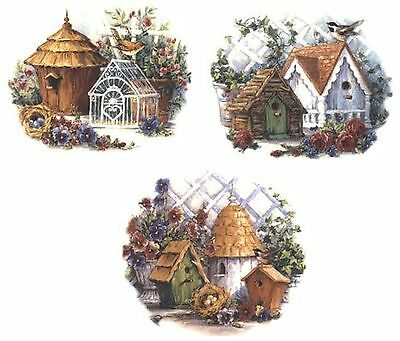 3 Country Birdhouse Flower Trellis Select-A-Size Waterslide Ceramic Decals Tx