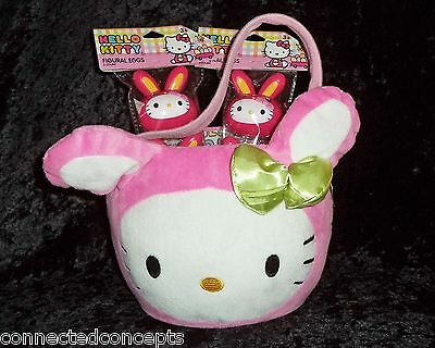 Sanrio Hello Kitty Pink Bunny Plush Easter Basket & Figural Egg Containers Lot