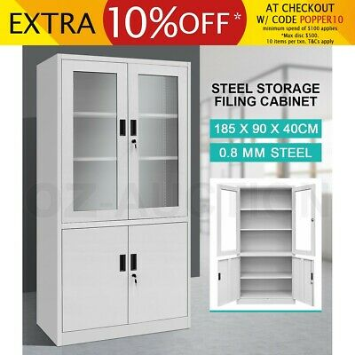 Filing Cabinet Lockable Steel Storage Cupboard w/2 Transparent Doors-Grey White