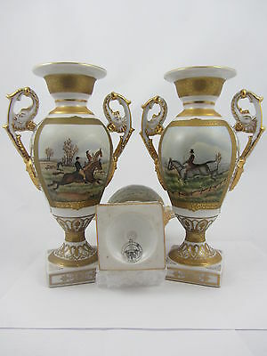 "Royal Stone China Porcelain Vases 9"" Pair Hunting Scenes"