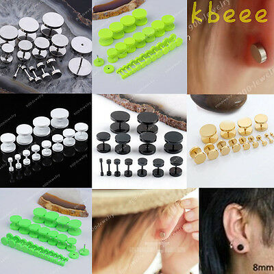 2PC Steel Barbell Screw Back Men's Earrings Studs 18Ga Fake Cheater Ear Plugs
