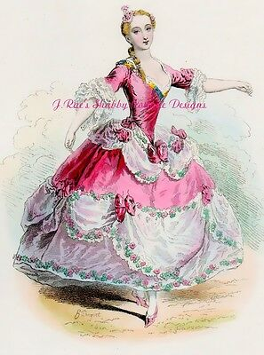 Lovely Vintage Print Repro Ballerina in Pink Roses Fabric Block 5x7 or 8x10