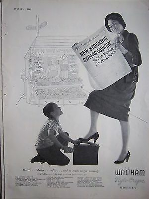 1949 Vintage Waltham Womans Legs Hosiery Stockings Shoe Shine Boy Ad