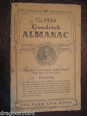 Vintage Old Collectible 1939 BF Goodrich Almanac Booklet Tracktor Pictures