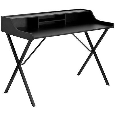 New Black Laminate Writing Computer Laptop Notebook Desk With Top Storage Shelf