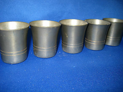 Lot of 5 Antique West Germany Pewter Shooters/Cups/Containers Engraved