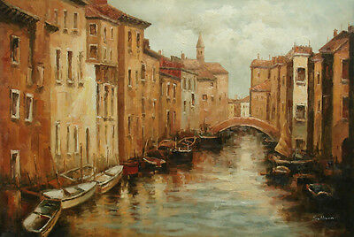 Oil Painting of Venice City Scene Row Boats on River by Building on Canvas 24x36