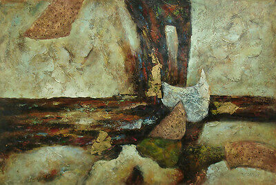 """Contemporary Oil Painting of Abstract on Canvas Great Color and Texture 24x36"""""""