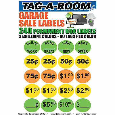 Garage Sale Moving Labels Identify Item Prices with 240 labels