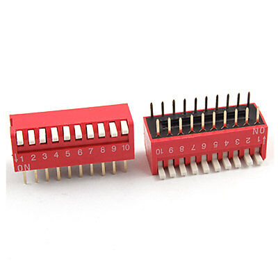 5 Pcs 2.54mm Pitch 10 Position Slide Type DIP Switch Red