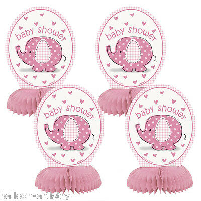 """4 Pink Girl's CUTE ELEPHANT Baby Shower Party Mini 6"""" Honeycomb Decorations"""