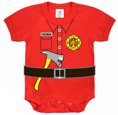 Firefighter fireman infant baby newborn one piece romper bodysuit tee shirt cute