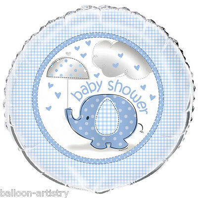 "18"" Blue Boy's CUTE ELEPHANT Baby Shower Party Round Foil Balloon"