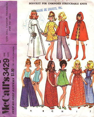 "McCall 3429 Vintage 11½"" Fashion Doll Trousseau Pattern Complete"