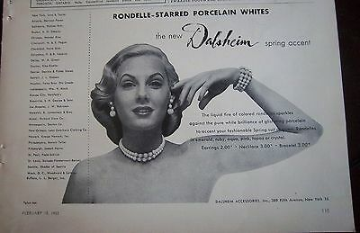 1952 Vintage DALSHEIM Rondelle Starred Porcelain White Necklace JEWELRY AD
