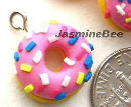 DONUTS Polymer Fimo Clay Charms Beads Pendants, CHOCOLATE or PINK, 6pcs