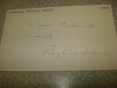 1969 Reggie Cleveland Autograph Index card Rare 3X5 Signed Debut  year Auto