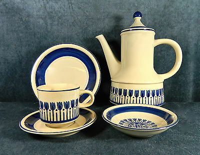 "42-Pcs (Or Less) Of Wards Style House ""aruba"" Blue Tulip Pat Tan Stoneware/china"