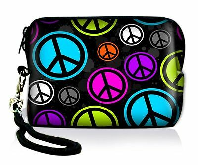Peace Sign Neoprene Case Bag Pouch For Digital Camera Cell Phone Itouch Iphone 5
