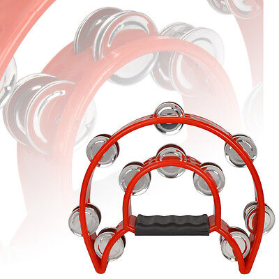 Hand Held Tambourine Double Row Metal Jingles Percussion Red