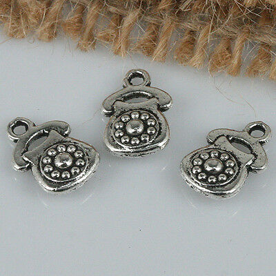 50pcs tibetan silver tone 2sided shell charms EF1508