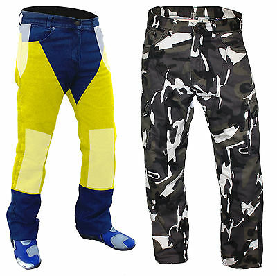 """Mens Camo Protective Armoured Fibre Lined Motorcycle Cargo Jeans ... 40""""w"""