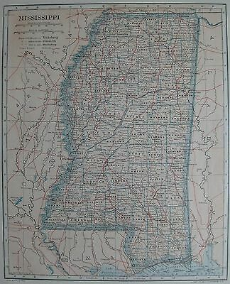 1917 Antique MISSISSIPPI Map  Neat  VINTAGE State Map of Mississippi