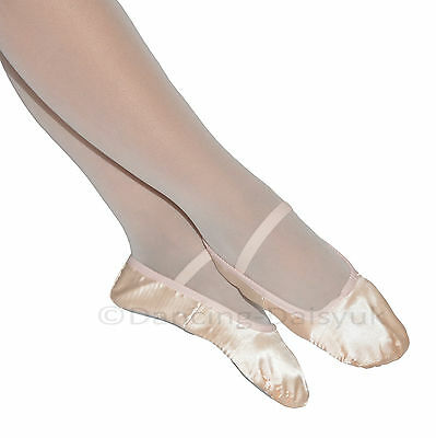 CLEARANCE Girls Pink SATIN BALLET SHOES with Full Sole & Pre-Sewn Elastics