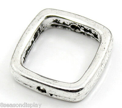"150PCs Silver Tone Square Spacer Beads Frame 14x14mm(4/8""x4/8""), Fits 10mm Beads"