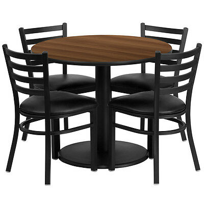 Restaurant Table Chairs 30'' Walnut Laminate with 4 Ladder Back Metal Chairs