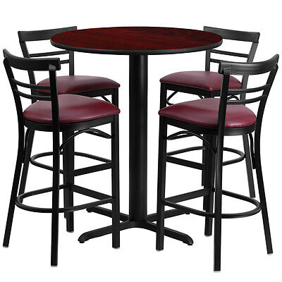 Restaurant Table Chairs 24'' Mahogany Laminate with 4 Ladder  Metal Bar Stools