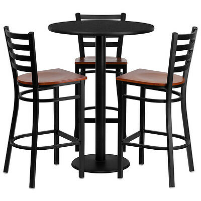 Restaurant Table Chairs 30'' Black Laminate with 3 Ladder Back Metal Bar Stools