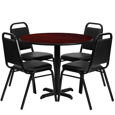 "Restaurant Table Chairs 36"" Black Mahogany Laminate with 4 Trapezoidal Back Bnqt"