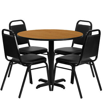 "Restaurant Table Chairs 36"" Natural Laminate with 4 Black Trapezoidal Back Bnqut"