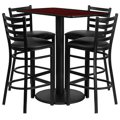 Restaurant Table Chairs 24''x42'' Mahogany Laminate with 4 Ladder Metal BarStool