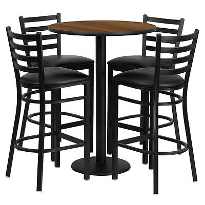 Restaurant Table Chairs 30'' Walnut Laminate with 4 Ladder Metal Bar Stools