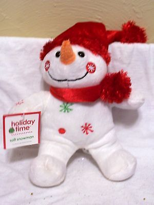 PLUSH SNOWMAN RED HAT & SCARF CHRISTMAS HOLIDAY DECORATION CHILDS TOY GIFT
