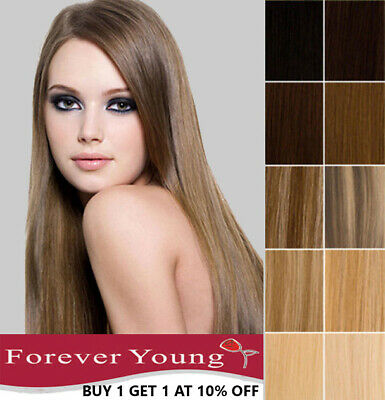 100% Real Remy Human Hair Extensions Clip in Weft Highlight Set Forever Young UK