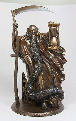 CHRONOS FATHER TIME w/SCYTHE AND HOURGLASS ROMAN GREEK MYTHOLOGY FIGURINE STATUE