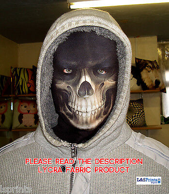 Halloween Face Mask - Scary Horror Grim Reaper Fancy Dress - Lycra Fabric Snood
