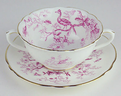CREAM SOUP BOWL w SAUCER Coalport CAIRO PINK rounded handles
