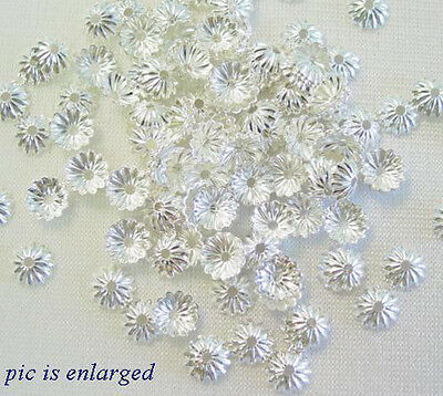1000 Silver Plated Scalloped Bead Caps Beadcaps 6MM