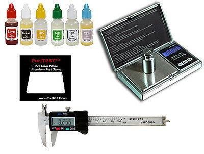Gold Test Acid Tester Jewelry Kit Stone Electronic Digital Scale Silver Calipers