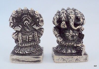 "Mini Statue Ganesh Hindu Elephant Deity with 5 Heads 1"" Tall - Handcast in Nepal"