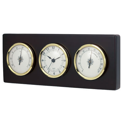 Wall Weather Station Quartz Clock Thermometer Hygrometer Dark Wood Frame New