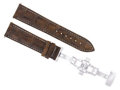 24Mm Leather Strap Watch Band Deployment Clasp For Fossil Light Brown Ws 3B