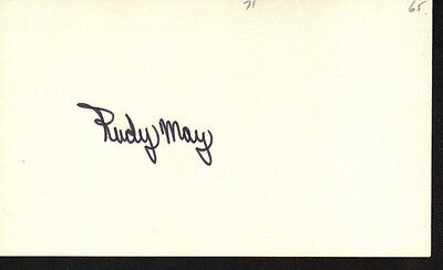 1965 Rudy May Autograph Index Card! Very Rare! Debut Year Signed!